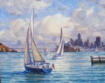 Light on the Bay, Original Oil Painting on Canvas, size 20x20 inches.