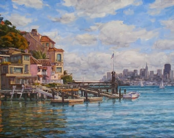 By the warm side of the Bay, Original Oil on Canvas, size 36x18 inches.