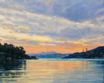 Sunset By The Bay, Original Oil Painting on Canvas, Size 30x40 inches.