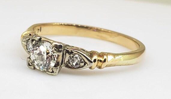 Vintage 1940's Diamond Engagement Ring 14k Yellow