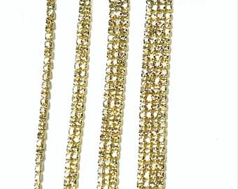Clear Gold Tone Rhinestone Trim - Crystal Trim - Rhinestone Chain - Cup  Chain - 3mm Rhinestone Cup Chain- 1 row 2 rows 3 rows 4 rows 8d622f035a81