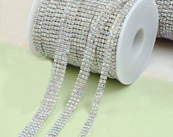 AB Clear Rhinestone Trim - Crystal Trim - Rhinestone Chain - Silver Plated - 3mm Cup Chain- 1 row 2 row 3 row 4 row 5 Row 6 Row 1 yard