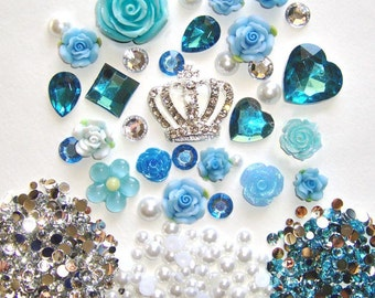 Sale -- DIY 3D Crown Lake Blue Flowers Kawaii Resin Flat back Decoden Cabochons Deco Kit