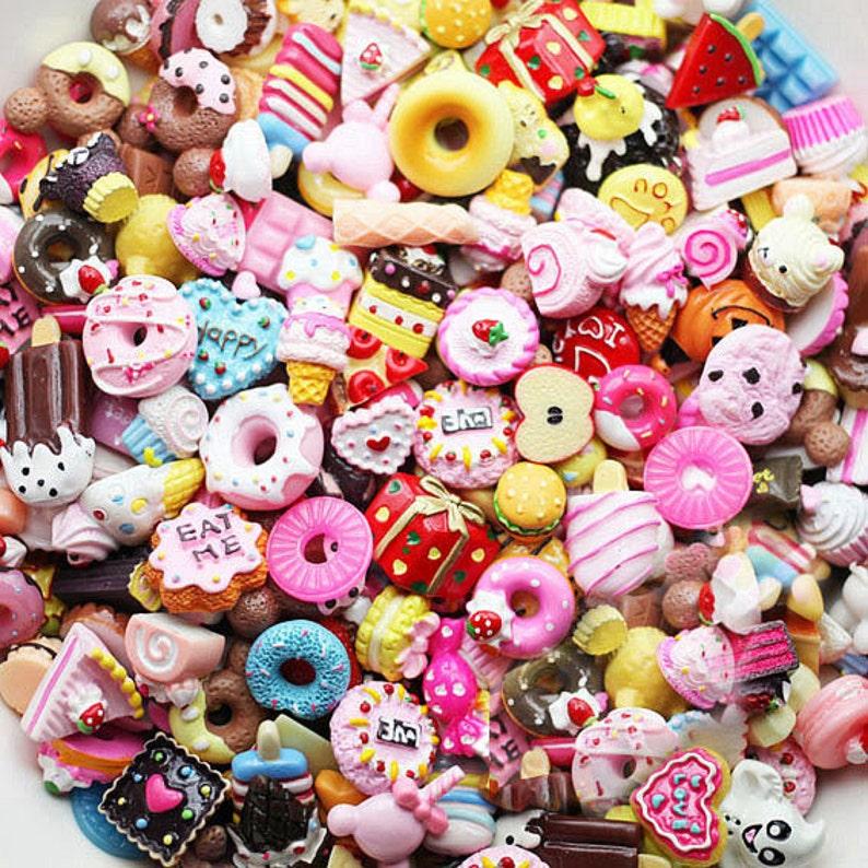 50 pcs mixed lot Food Sweet Treats Kawaii Flatback Resin image 0