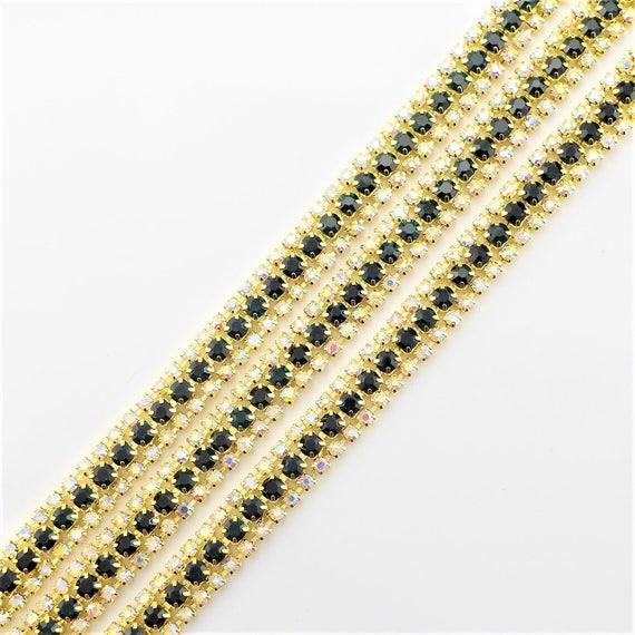 3 Rows Gold Tone Black and AB Clear Rhinestones Trim Crystal | Etsy