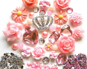 Sale -- DIY 3D Crown Pink Flowers Kawaii Resin Flat back Decoden Cabochons Deco Kit