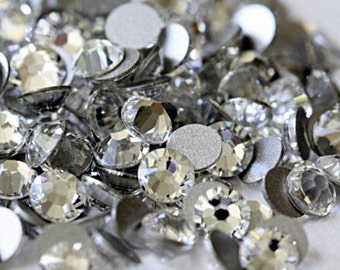 Clear -- Crystal Glass Rhinestones Flatback High Quality no hotfix Size SS6 SS10 SS12 SS16 SS20 SS30 Wholesale Pack Lot