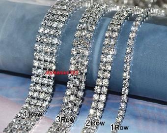 Clear Rhinestone Trim Silver Tone - Crystal Trim - Rhinestone Chain - Silver Tone - Cup Chain - 1 row 2 rows 3 rows 4 rows 6 Row 1 yard