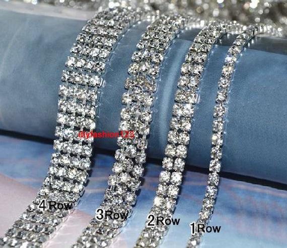 Clear Rhinestone Trim Silver Tone Crystal Trim Rhinestone  80ce170b0bac
