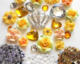 Sale -- DIY 3D Crown Yellow Flowers Kawaii Resin Flatback Decoden Cabochons Deco Kit