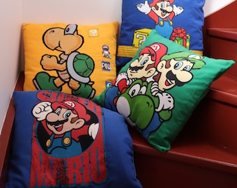 SUPER MARIO retro gaming decoration cushion in fabric and recycled work blue