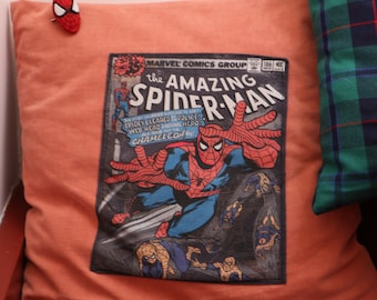 SPIDERMAN VINTAGE decoration cushion in recycled fabric