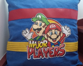 SUPER MARIO retro gaming decoration cushion in recycled work blue
