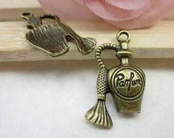 10pcs 15x30mm Antique Brass Perfume Bottle Charm Pendant