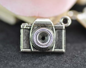 10pcs Antique Silver Camera Charms Pendant 8x15x20mm