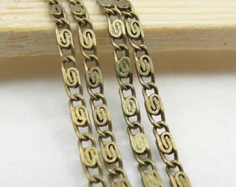 16ft of Antiqued Brass Necklace Chains/ Jewelry /Links /Flat Oval Chains 2.5mm