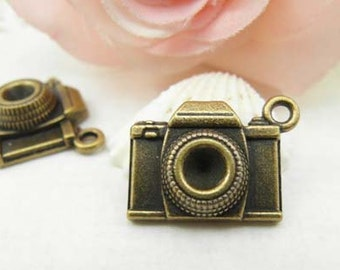 10pcs Antique Brass Camera Charms Pendant  8x15x20mm