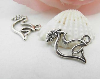 20pcs Antique Silver Peace Dove Bird Charm Pendant Dove with Olive Leaves