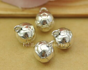 10pcs Antique Silver Soccer Charms Pendant 10x13mm Silver Football Charms Pendant