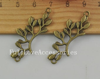 10pcs Antique Brass Olive Branch Charms Pendants 17x38mm Antique Bronze Leaf Charm
