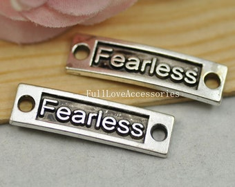 10pcs Fearless Charms, Antique Silver Rectangle Fearless Charm Connector - Fearless Tag Charm Connector 10x36mm