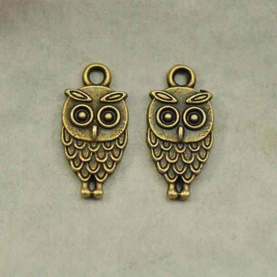 20pcs Antique Silver//Bronze Owl Charm Pendants Bird Pendant Beads