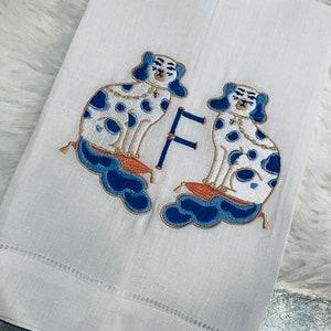 Set of 4 Meghan Markle Embroidered Monogram Linen Cocktail Napkins