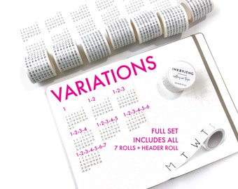 Washi Tape Mini Calendars for Planners and Journals - 5mm grid - Original Handwriting - 40mm jumbo rolls