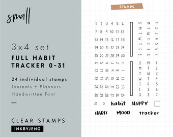 "STMP-3X4-002 Tracker Numbers - 3x4"" Clear Stamp Kit for your Journal or Planner / Includes numbers 0-31 / Fits 5mm grids - Mini Stamp Kit"