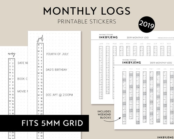 printable pdf 2019 monthly log for journal vertical etsy