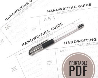 Printable PDF - Handwriting Guide for Journals and Planners / Dot Grid - 3 Uppercase, 1 Lowercase, 1 Practice Dot Grid sized for 5mm grids