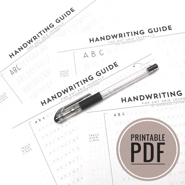 Druckbare PDF Handschrift Leitfaden für Zeitschriften und   Etsy
