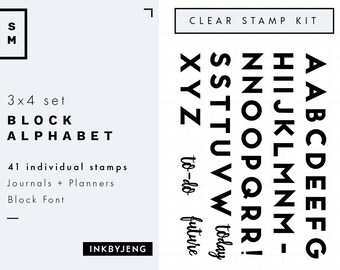 "STMP-3X4-006 Block Large Alphabet - 3x4"" Clear Stamp Kit for your Journal or Planner / Perfect for 5mm grids - Small Stamp Kit"