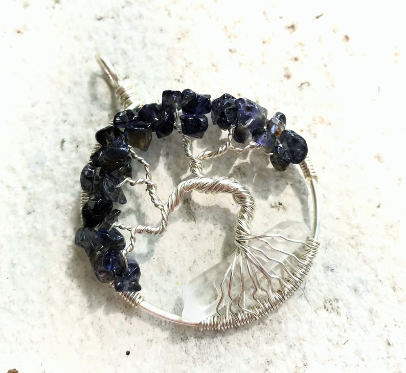 Iolite Tree of Life Pendant Sterling Silver Quartz Point Tree image 0