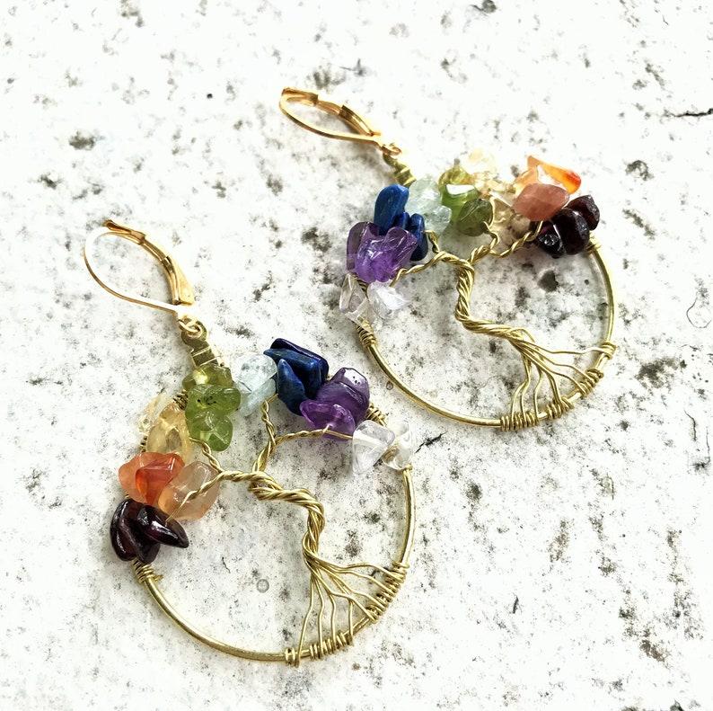 Chakra Tree-of-Life Earrings Brass Tree of Life Earrings image 0