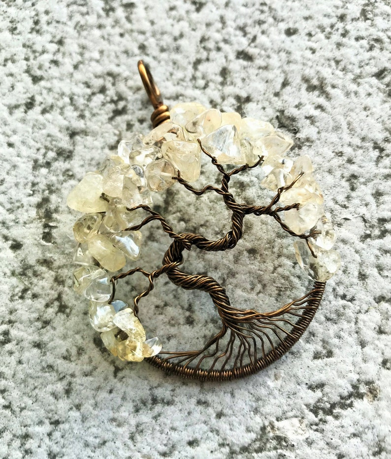 Citrine Tree-of-Life Pendant Antique Brass Citrine Tree of image 0