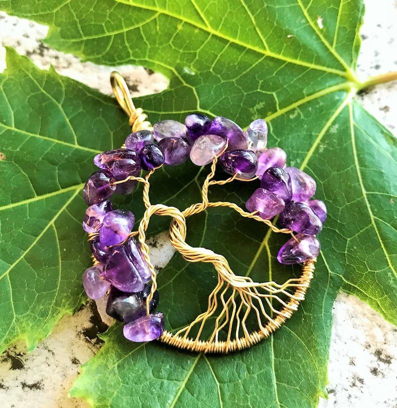 Amethyst Tree of Life Pendant Brass Tree-of-Life Purple Tree image 0