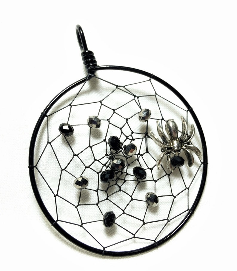 Spider Web Pendant Spider Dream Catcher Halloween Dream image 0