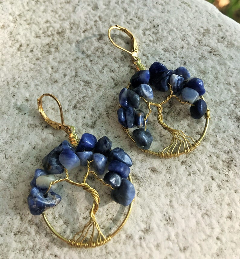 Sodalite Tree-of-Life Earrings Blue Tree of Life Earrings image 0