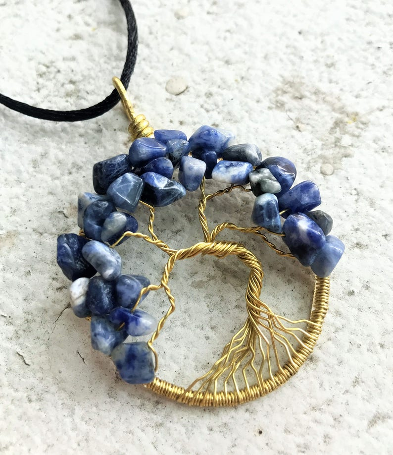 Sodalite Tree-of-Life Pendant Brass Tree of Life Necklace image 0