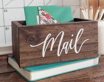 Rustic Mail Holder Box, Office Organization, Mail Box Organizer, Rustic Home Decor, Housewarming Gift, B-1 NP1