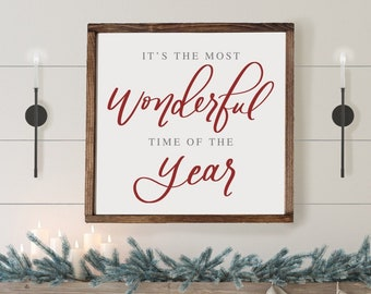 It's The Most Wonderful Time of The Year | Wood Framed Sign | Farmhouse Christmas | Rustic Christmas | Christmas sign