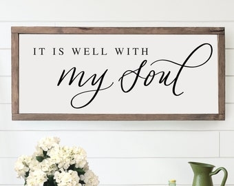 It Is Well With My Soul Wood Framed Sign, bible verse sign, scripture sign, living room sign, sign for entryway, christian wall art