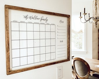 Rustic Wooden Acrylic Calendar with Wood Frame | Personalized Acrylic Wall Calendar |  Dry Erase Monthly Acrylic Calendar, 2021 Calendar