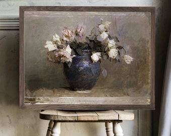 Roses | Vintage Art Wood Framed Sign, Farmhouse Signs, Vintage Painting Sign, Vintage Living Room Decor, Vintage Wall Art, Antique Wall Art