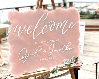 Acrylic Welcome Sign, Wedding Welcome Sign, Acrylic Welcome Sign Calligraphy Acrylic Sign Modern Wedding Sign - G1