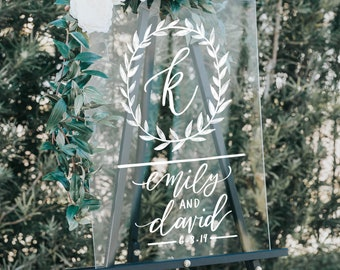 Acrylic Wedding Sign, Wedding Welcome Sign with Leafy Monogram Names & Date, Modern Vintage Weddings, Lucite Signs