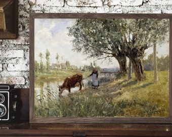 Countryside | Vintage Art Wood Framed Sign, Vintage Painting, Antique Wall Art, Antique Painting, Farmhouse Signs, Vintage Wall Art