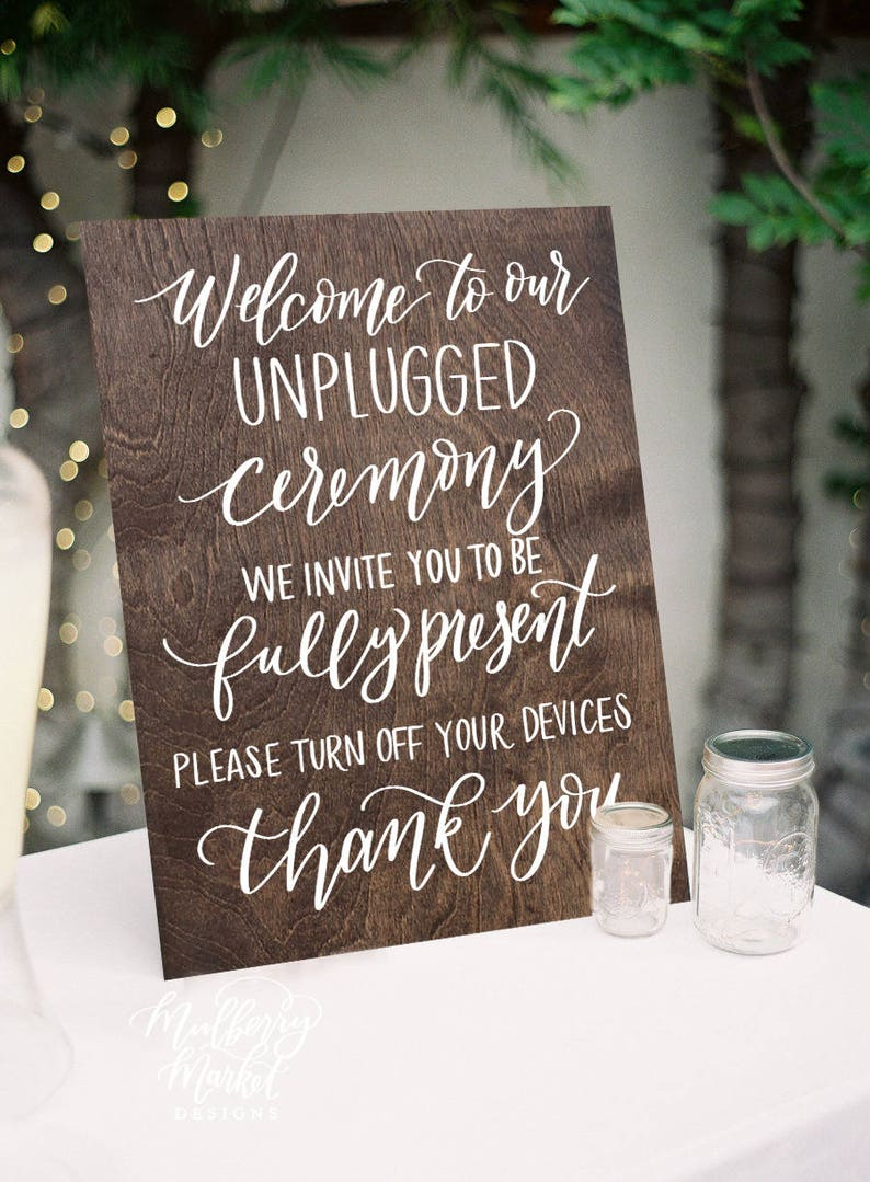 Wooden Wedding Signs.Wooden Unplugged Ceremony Sign Wooden Wedding Signs Rustic Wedding Sign Unplugged Wedding Wood Wedding Sign K3