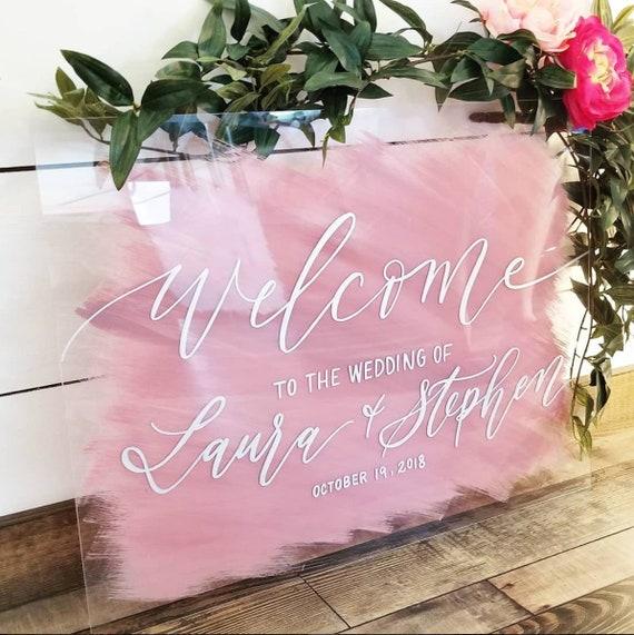 Wedding Welcome Sign Brushed Back Acrylic Welcome Sign Acrylic Etsy